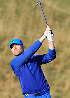Ronan Keating (AM) on the 10th fairway during Round 2 of the 2015 Alfred Dunhill Links Championship at Kingsbarns in Scotland on 2/10/15.<br /> Picture: Thos Caffrey | Golffile