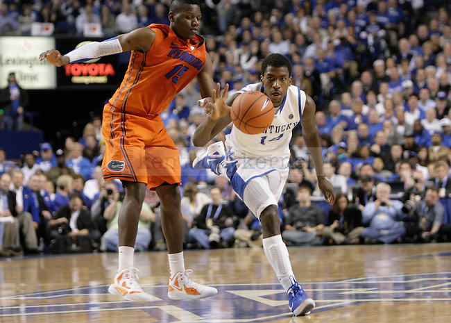 UK freshman forward Michael Kidd-Gilchrist snags a loose ball while driving past the half court line during the second half of UK's home game against Florida at Rupp Arena in Lexington, Ky. Feb. 7, 2012. Photo by Brandon Goodwin | Staff
