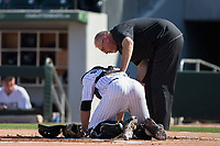 Charlotte Knights catcher Rob Brantly (18) is attended to by trainer Scott Johnson after being hit by a foul tip during the game against the Gwinnett Braves at BB&T BallPark on July 16, 2017 in Charlotte, North Carolina.  The Knights defeated the Braves 5-4.  (Brian Westerholt/Four Seam Images)