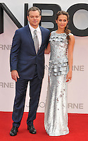 Matt Damon &amp; Alicia Vikander at the &quot;Jason Bourne&quot; European film premiere, Odeon Leicester Square cinema, Leicester Square, London, England, UK, on Monday 11 July 2016.<br /> CAP/CAN<br /> &copy;CAN/Capital Pictures /MediaPunch ***NORTH AND SOUTH AMERICAS ONLY***
