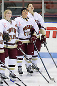 Tracy Johnson (Boston College - 5), Brie Baskin (Boston College - 4), Becky Zavisza (Boston College - 2) - The Boston College Eagles defeated the Harvard University Crimson 1-0 to win the Beanpot on Tuesday, February 10, 2009, at Matthews Arena in Boston, Massachusetts.