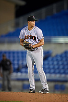 Jupiter Hammerheads relief pitcher Zech Lemond (20) gets ready to deliver a pitch during a game against the Dunedin Blue Jays on August 14, 2018 at Dunedin Stadium in Dunedin, Florida.  Jupiter defeated Dunedin 5-4 in 10 innings.  (Mike Janes/Four Seam Images)
