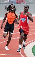 Jodale Burkley (cq, right) of Skyline High School battles Lorenzo Mitchell (cq) of Lancaster High School in the Varsity Boys 800 Meter Run during the Eddie Payne Relays track and field event at John E. Kincaide Stadium in Dallas, Texas, Saturday, March 29, 2008. Burkley won with a time of 1:56.01...MATT NAGER/ SPECIAL CONTRIBUTER