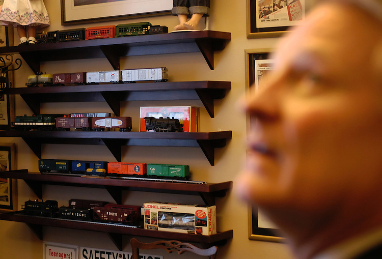 Rep. Spencer Bachus, R-Al., in his office with his model train collection.