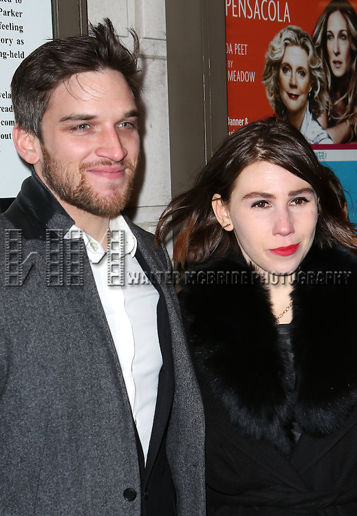 Evan Jonigkeit and Zosia Mamet attends the 'Outside Mullinger' Broadway opening night at Samuel J. Friedman Theatre on January 23, 2014 in New York City.