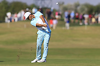 Thorbjorn Olesen (DEN) plays his 2nd shot on the 9th hole during Thursday's Round 1 of the 2016 Portugal Masters held at the Oceanico Victoria Golf Course, Vilamoura, Algarve, Portugal. 19th October 2016.<br /> Picture: Eoin Clarke   Golffile<br /> <br /> <br /> All photos usage must carry mandatory copyright credit (© Golffile   Eoin Clarke)