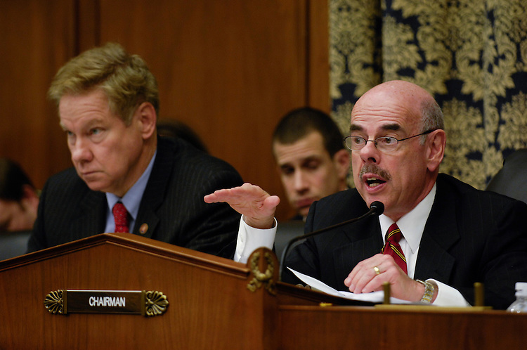 WASHINGTON, DC - Jan. 15, 2008: Ranking member Thomas M. Davis III, R-Va., and Chairman Henry A. Waxman, D-Calif., during the House Oversight and Government Reform Committee hearing on a report by former Sen. George Mitchell, who released the scathing report last month on Major League Baseball's abuse of steroids, human growth hormone and other performance-enhancing substances, Under pressure from lawmakers, Major League Baseball officials on Tuesday agreed to make more changes to the sportÕs antidrug policies before 2008 spring training begins. House Oversight and Government Reform Committee leaders said they were encouraged by the commitment. It came after a plea from former Sen. George Mitchell Ñ the investigator who revealed the breadth and depth of baseballÕs drug problems Ñ for Congress to Òencourage and allowÓ the league to clean up its own act. (Congressional Quarterly Photo by Scott J. Ferrell)