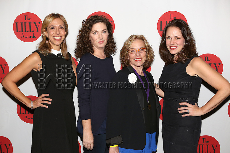 Amanda Green, Julia Jordan, Marsha Norman and Georgia Stitt backstage at The Lilly Awards Broadway Cabaret'   at The Cutting Room on November 9, 2015 in New York City.