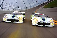 Riley Motorsports Dodge Vipers, Rolex 24 at Daytona, IMSA Tudor Series, Daytona International Speedway, Daytona Beach, FL, Jan 2015.  (Photo by Brian Cleary/ www.bcpix.com )