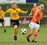 20200226 – KALMTHOUT , BELGIUM :  Belgian Lauren Meyers (17) and Dutch Jet van der Veen (10) pictured during a friendly soccer game between the national youth Women Under 17 teams of Belgium and The Netherlands , a friendly football game in preparation for the UEFA Elite rounds in March in Belgium for the Belgian team , Wednesday 26 th February 2020 at the Heikant sportpark in Kalmthout , Belgium . PHOTO SPORTPIX.BE | DIRK VUYLSTEKE