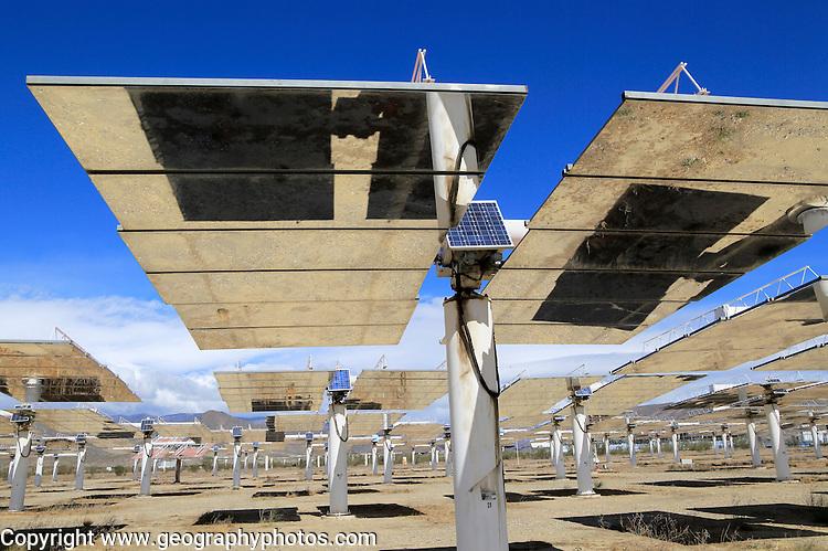Heliostats at the solar energy scientific research centre, Tabernas, Almeria, Spain