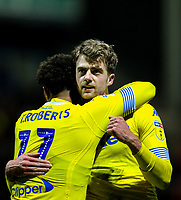 Leeds United's Patrick Bamford celebrates scoring the opening goal with Tyler Roberts<br /> <br /> Photographer Alex Dodd/CameraSport<br /> <br /> The EFL Sky Bet Championship - Preston North End v Leeds United -Tuesday 9th April 2019 - Deepdale Stadium - Preston<br /> <br /> World Copyright &copy; 2019 CameraSport. All rights reserved. 43 Linden Ave. Countesthorpe. Leicester. England. LE8 5PG - Tel: +44 (0) 116 277 4147 - admin@camerasport.com - www.camerasport.com