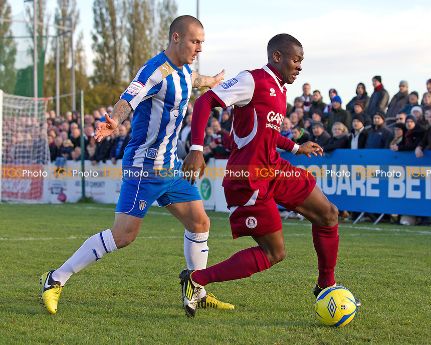 Michael Rose, Colchester United FC pushes Anthony Cook, Chelmsford City FC wide and away from goal - Chelmsford City v Colchester United - FA Cup 1st Round Football at Melbourne Park, Chelmsford, Essex - 03/11/12 - MANDATORY CREDIT: Ray Lawrence/TGSPHOTO - Self billing applies where appropriate - 0845 094 6026 - contact@tgsphoto.co.uk - NO UNPAID USE.