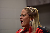 Houston, TX - Saturday Oct. 08, 2016: Abigail Dahlkemper during a press conference prior to the National Women's Soccer League (NWSL) Championship match between the Washington Spirit and the Western New York Flash at Houston Sports Park.