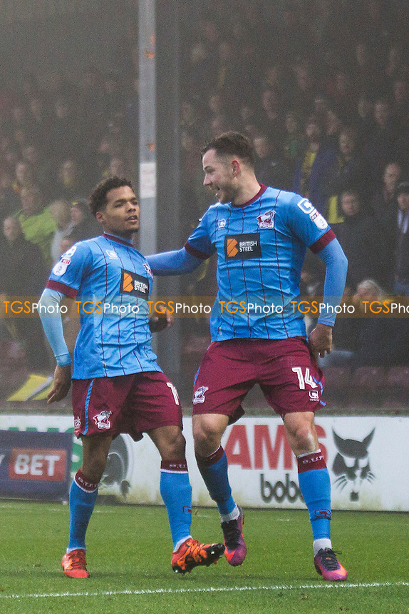 Duane Holmes (left) of Scunthorpe celebrates the home side goal with Tom Hopper of Scunthorpe during Scunthorpe United vs Oxford United, Sky Bet EFL League 1 Football at Glanford Park on 26th November 2016