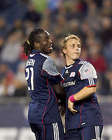 New England Revolution midfielder Shalrie Joseph (21) and New England Revolution defender Seth Sinovic (27) watch Real Salt Lake score goal. Real Salt Lake defeated the New England Revolution, 2-1, at Gillette Stadium on October 2, 2010.