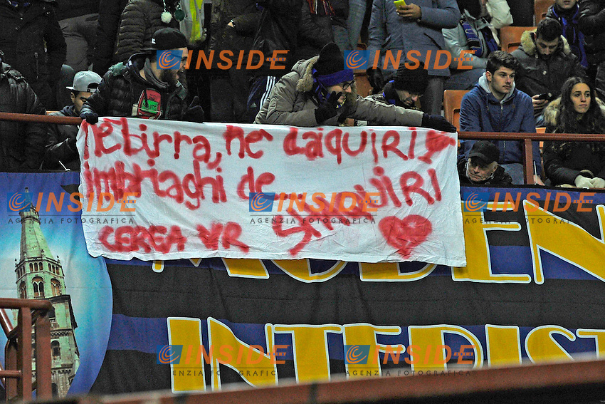 tifosi Inter<br />  striscione per Shaqiri. Banner for Shaqiri Inter supporters Milano 21-01-2015 Stadio Giuseppe Meazza - Football Calcio Coppa Italia Inter - Sampdoria. Foto Giuseppe Celeste / Insidefoto
