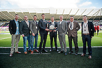 SWANSEA, WALES - APRIL 04: Sponsors prior to the Premier League match between Swansea City and Hull City at Liberty Stadium on April 04, 2015 in Swansea, Wales.  (photo by Athena Pictures)
