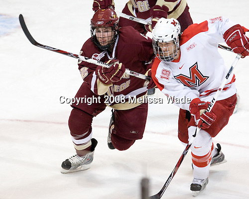 Ben Smith (BC - 12), Jarod Palmer (Miami - 19) - The Boston College Eagles defeated the Miami University RedHawks 4-3 in overtime on Sunday, March 30, 2008 in the NCAA Northeast Regional Final at the DCU Center in Worcester, Massachusetts.