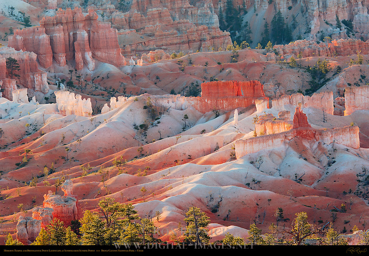 Mormon Temple and Bristlecone Point Landscape at Sunrise from Sunrise Point, Bryce Canyon National Park, Utah