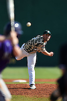 Slippery Rock pitcher Jon Anderson (19) during a game against the Kentucky Wesleyan Panthers on March 9, 2015 at Jack Russell Stadium in Clearwater, Florida.  Kentucky Wesleyan defeated Slippery Rock 5-4.  (Mike Janes/Four Seam Images)