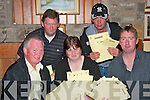 DRAW: Members of Athea fishing club at the their draw in the Gables Restaurant on Saturday night, pictured are Gerry Broderick (secretary), Anne Sheehan (PRO), Sea?n Wall (safety officer), Pat Nolan (safety officer) and Pa Moore (assistant treasurer).   Copyright Kerry's Eye 2008