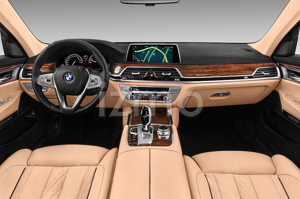 Stock photo of straight dashboard view of 2016 BMW 7 Series 740i 4 Door Sedan Dashboard
