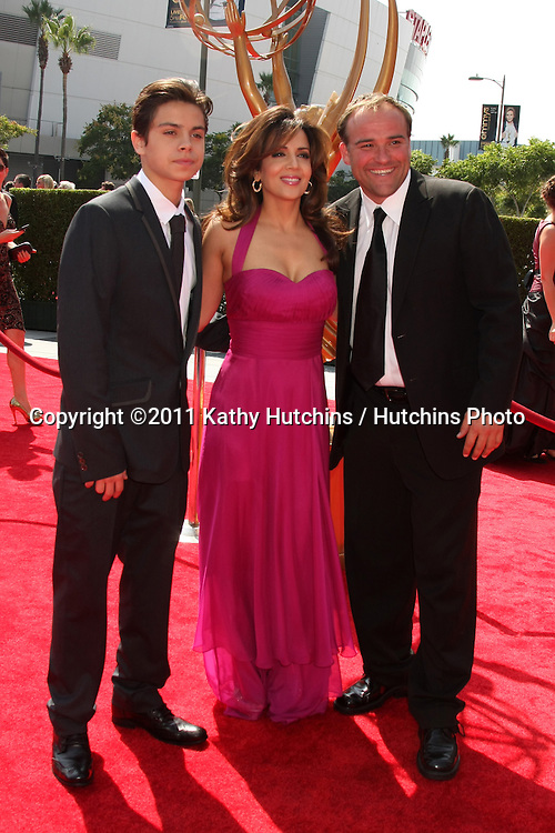 LOS ANGELES - SEP 10:  Jake T. Austin, Maria Canals-Barrera, David DeLuise arriving at the Creative Primetime Emmy Awards Arrivals at Nokia Theater on September 10, 2011 in Los Angeles, CA