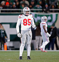 Ohio State Buckeyes tight end Marcus Baugh (85) against Michigan State Spartans at Spartan Stadium in East Lansing, Michigan on November 8, 2014.  (Dispatch photo by Kyle Robertson)