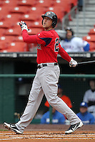 Pawtucket Red Sox first baseman Lars Anderson #26 during a game against the Buffalo Bisons at Coca-Cola Field on April 15, 2012 in Buffalo, New York.  Buffalo defeated Pawtucket 10-9 in ten innings.  (Mike Janes/Four Seam Images)