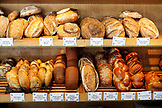 USA, California, Oakland, La Farine, a case full of handmade pastries at La Farine