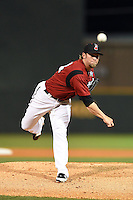 Nashville Sounds pitcher Michael Blazek (34) delivers a warmup pitch during the second game of a double header against the Omaha Storm Chasers on May 21, 2014 at Herschel Greer Stadium in Nashville, Tennessee.  Nashville defeated Omaha 13-4.  (Mike Janes/Four Seam Images)