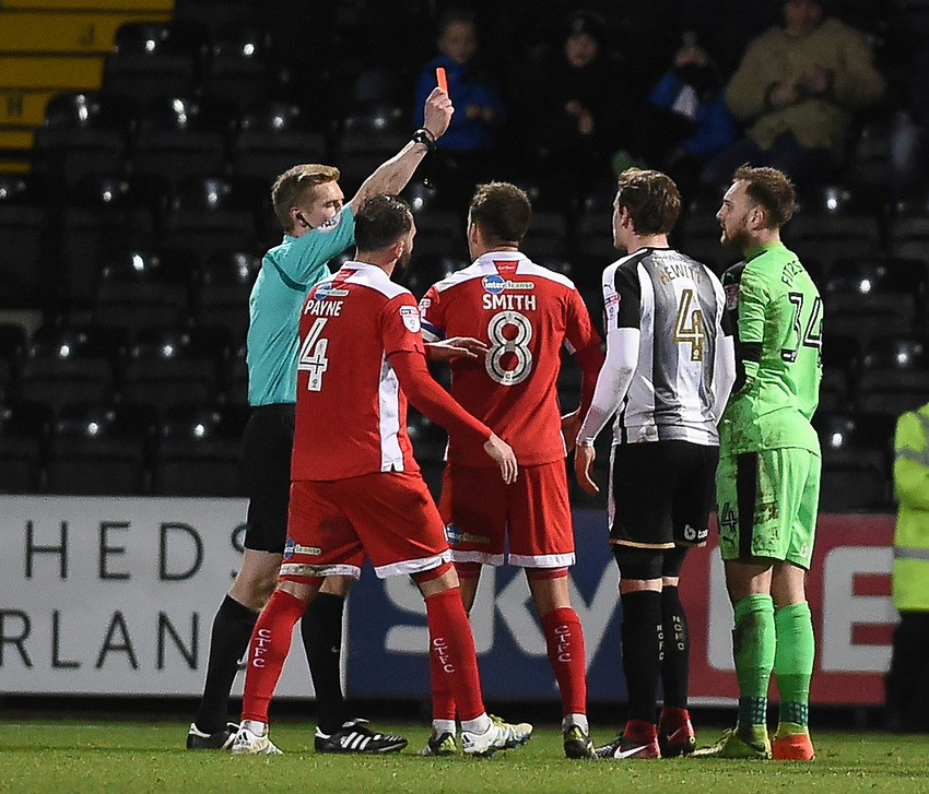 Notts County's Ross Fitzsimons <br /> is shown a red card and sent off by Referee Scott Oldham  <br /> <br /> Photographer Jon Hobley/CameraSport<br /> <br /> The EFL Sky Bet League Two - Notts County v Crawley Town - Tuesday 23rd January 2018 - Meadow Lane - Nottingham<br /> <br /> World Copyright &copy; 2018 CameraSport. All rights reserved. 43 Linden Ave. Countesthorpe. Leicester. England. LE8 5PG - Tel: +44 (0) 116 277 4147 - admin@camerasport.com - www.camerasport.com