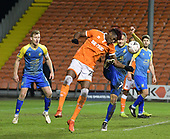 18-12-2018  FAC2 Replay Blackpool v Solihull Moor<br /> <br /> Blackpool's Armand Gnanduillet in penalty incident with Solihull's Jamey Osbourne, foot up.