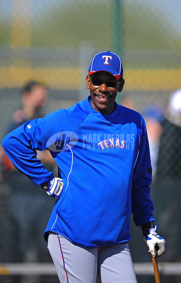 Mar. 1, 2012; Surprise, AZ, USA; Texas Rangers manager Ron Washington during spring training workouts at the practice fields at Surprise Stadium.  Mandatory Credit: Mark J. Rebilas-.