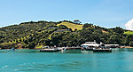 Entrance to the harbor and ferry terminal on Waiheke Island, an island accessible by ferry from Auckland that is largely devoted to producing wine