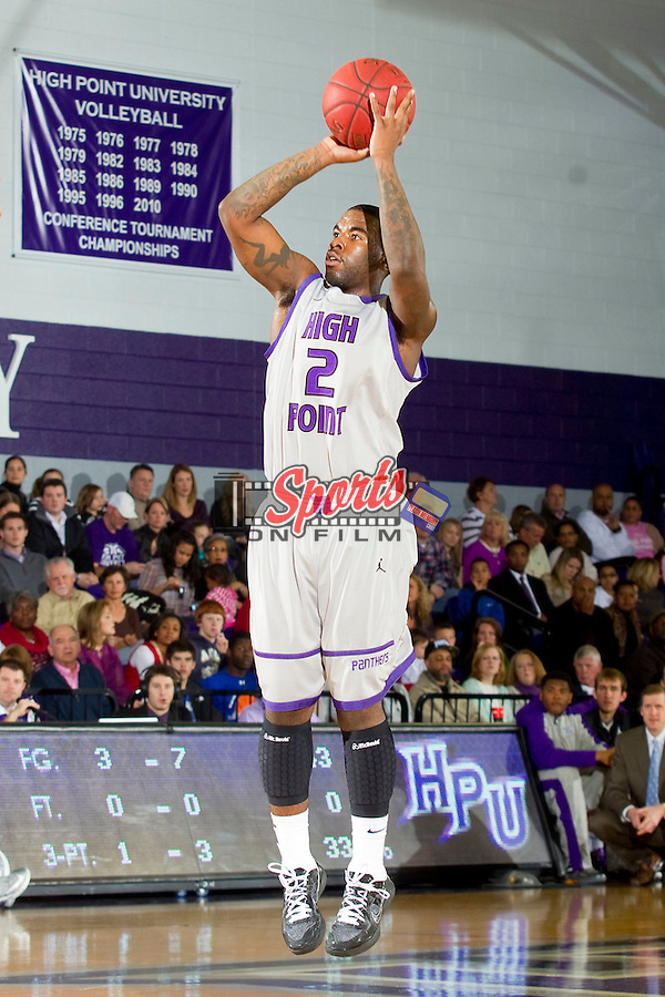 Derrell Edwards (2) of the High Point Panthers attempts a jump shot during first half action against the Coastal Carolina Chanticleers at Millis Athletic Center on February 9, 2013 in High Point, North Carolina.  The Panthers defeated the Chanticleers 74-62.   (Brian Westerholt/Sports On Film)
