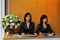 Receptionists at a promotional event for Lexus cars on Hua Hai Lu.