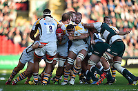 Wasps forwards in action at a maul. Aviva Premiership match, between Leicester Tigers and Wasps on November 1, 2015 at Welford Road in Leicester, England. Photo by: Patrick Khachfe / Onside Images