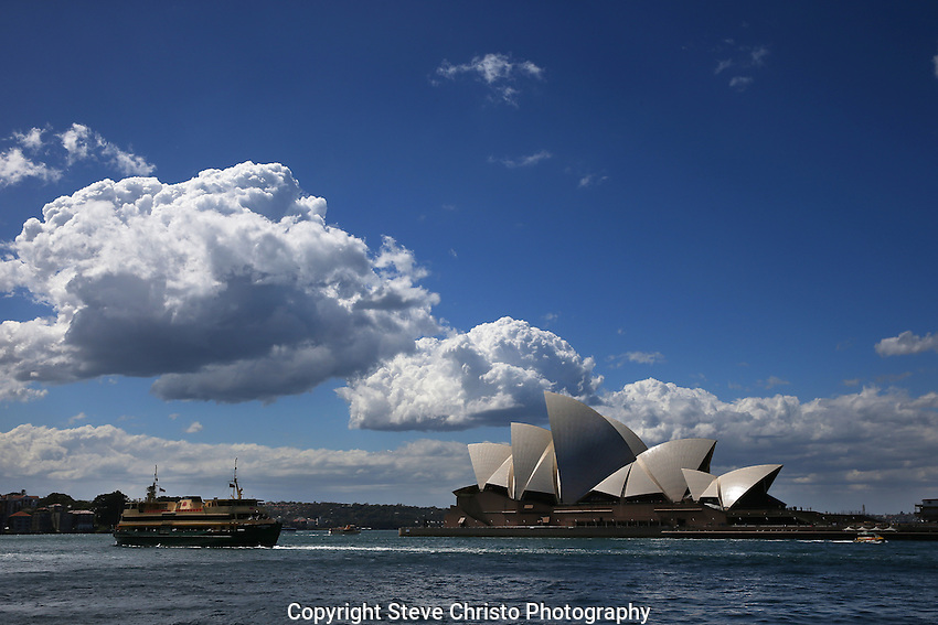 Sydney Harbour and Opera House with clouds. Sydney, Australia. Friday, 20th September 2013. (Photo; Steve Christo)