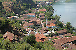 Lin-Pogradec-Albania - August 02, 2004---Partial view of the village of Lin, with its mosque, at Lake Ohrid; region/village of project implementation by GTZ-Wiram-Albania (German Technical Cooperation, Deutsche Gesellschaft fuer Technische Zusammenarbeit (GTZ) GmbH)---Photo: Horst Wagner/eup-images