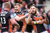 Picture by Alex Whitehead/SWpix.com - 19/03/2017 - Rugby League - Betfred Super League - Salford Red Devils v Castleford Tigers - AJ Bell Stadium, Salford, England - Castleford's Luke Gale (R) celebrates his try with team-mates.