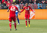 06 April 2013: Toronto FC defender Jeremy Hall #25 pleads with Toronto FC defender Darren O'Dea #48 during an MLS game between FC Dallas and Toronto FC at BMO Field in Toronto, Ontario Canada..The game ended in a 2-2 draw..