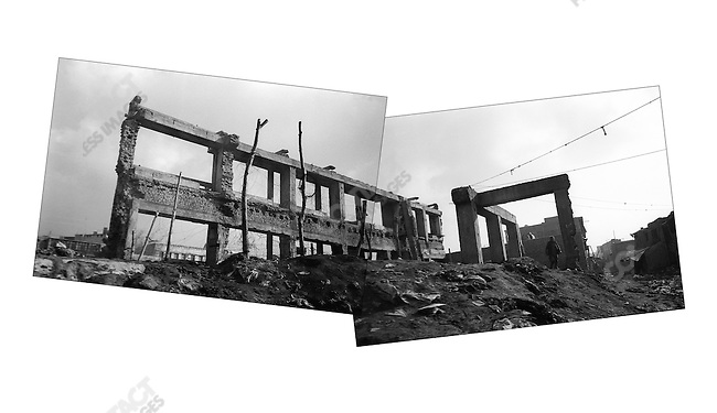 Destroyed supermarket on Maiwan Avenue, Kabul, Afghanistan. March 2006