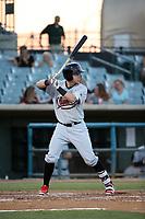 Mark Karaviotis (12) of the Visalia Rawhide bats against the Lancaster JetHawks at The Hanger on August 9, 2017 in Lancaster, California. Lancaster defeated Visalia, 7-4. (Larry Goren/Four Seam Images)