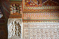 Berber Arabesque Mocarabe plasterwork pamnels and  Muqarnas capitals and painted wood roof.The Petite Court, Bahia Palace, Marrakesh, Morroco