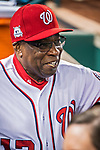6 October 2017: Washington Nationals Manager Dusty Baker stands in the dugout awaiting the start of the NLDS against the Chicago Cubs at Nationals Park in Washington, DC. The Cubs shut out the Nationals 3-0 to take a 1-0 lead in their best of five Postseason series. Mandatory Credit: Ed Wolfstein Photo *** RAW (NEF) Image File Available ***