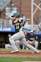 Vermont Lake Monsters catcher Kyle Wheeler (18) at bat during a game against the Jamestown Jammers on July 12, 2014 at Russell Diethrick Park in Jamestown, New York.  Jamestown defeated Vermont 3-2.  (Mike Janes/Four Seam Images)