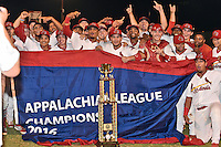 Johnson City Cardinals pose with the Championship Trophy and Flag after Game Two of the Appalachian League Championship series against the Burlington Royals at TVA Credit Union Ballpark on September 7, 2016 in Johnson City, Tennessee. The Cardinals defeated the Royals 11-6 to win the series 2-0.. (Tony Farlow/Four Seam Images)