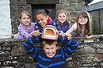 L-R: Pupils from St James Church of England Primary school in Hereford Molly Davies, Florence Coore, Ellis Willows, Amelia Adamson & Maddie Williams...Danywenallt Outdoor Centre .Talybont-On-Usk.30.04.12.©Steve Pope
